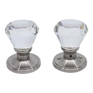 Door Knob Crystal Diamond Privacy Satin Nickel