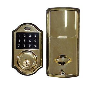 Ornate Electronic Deadbolt Polish Brass