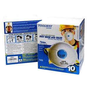 10 PC Dust Mask w / Valve 3 Ply