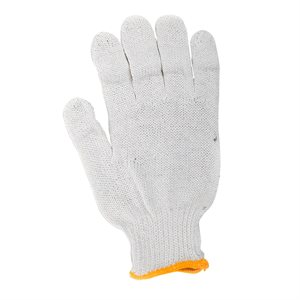 1dz. Knitted Poly / Cotton Gloves White With Black PVC Dots (M)