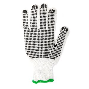 1dz. Knitted Poly / Cotton Gloves White With Black PVC Dots (L)