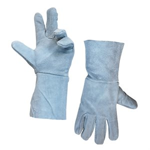 1dz. Cow Split Leather Welders Gloves Gray Long Cuff
