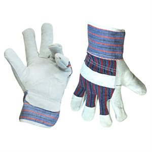 1dz. Cow Split Leather Gloves Fleece Lining (OSFA)