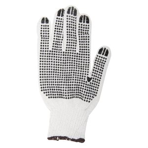 1dz. Knitted Poly / Cotton Gloves White With Black PVC Dots (XL)