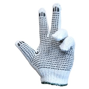 1dz. Knitted Poly / Cotton Gloves Unbleached With Black PVC Dots (L)
