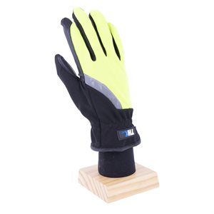 1 Pair Mechanic Gloves Green / Black With PU Palm Black & Reflective Strap (OSFA)