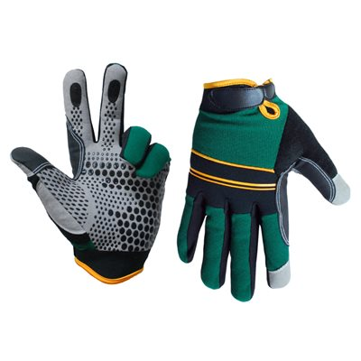 1 Pair Super Gripper Contractor Gloves Green / Black (XL)