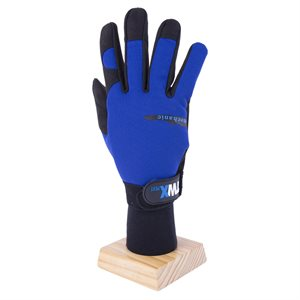 1 Pair Mechanic Gloves Blue / Black With Synthetic Leather Palm Black (L)