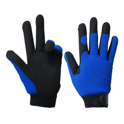 1 Pair Mechanic Gloves Blue / Black With Synthetic Leather Palm Black (XL)