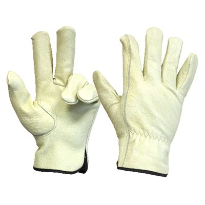 1 Pair Unlined Pigskin Driver Gloves Elastic Cuff Cotton Hem (L)