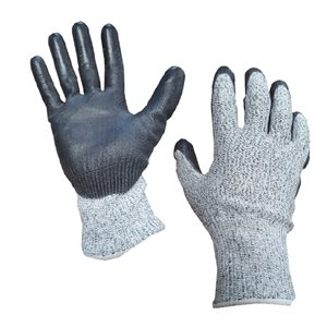1dz. Contractor Cut Resistant Gray Gloves Black PU Palm (S)