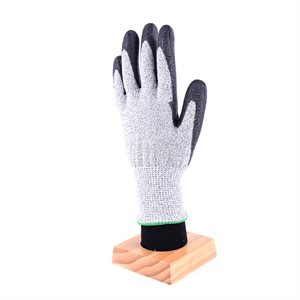 1dz. Contractor Cut Resistant Gray Gloves Black PU Palm (L)