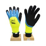 12 Pair Knitted Poly Terry Lining Gloves NeonGreen W / Latex Palm Blue / Sandy Black (L)