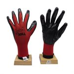 12 Pair Knitted Polyester Gloves Red With Nitrile Black PU Palm (XL)
