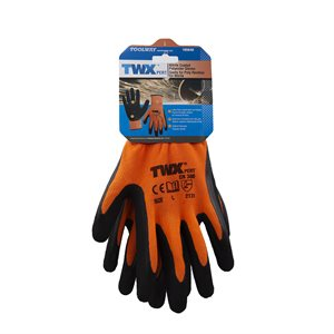 12 Pair Knitted Polyester Gloves Orange With Latex Foam Black Palm (L)