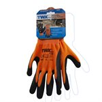 12 Pair Knitted Polyester Gloves Orange With Latex Foam Black Palm (XL)