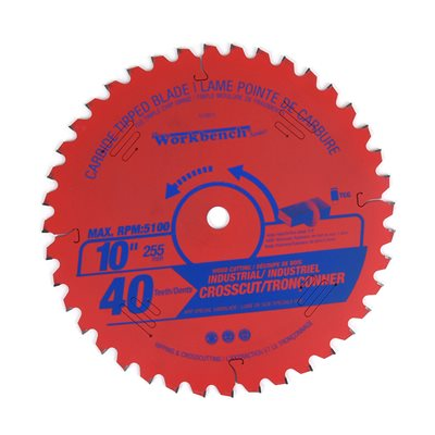 Carbide Tipped Saw Blade TCG Crosscut 10in (255mm) 40T 5100RPM