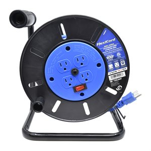 Extension Cord Storage Reel w / 4 Grounded Outlets 15A Circuit Breaker & Switch