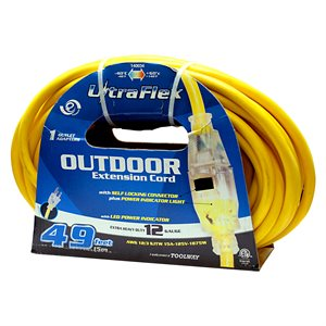 Extension Cord Outdoor SJTW 12 / 3 Lighted Single Tap Yellow 50ft