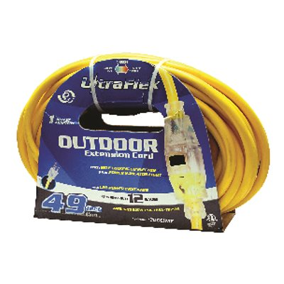 Extension Cord Outdoor SJTW 12 / 3 Lighted Single Tap Yellow 100ft