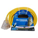 Extension Cord Outdoor SJTW 12 / 3 Lighted 3-Tap Yellow 30ft