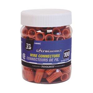 100PC Twist On Connector Orange S #31