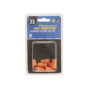 TWIST ON CONNECTOR SMALL ORANGE #31 10 Pack