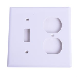 2 Gang 1 Toggle + 1 Duplex recp. Plate White