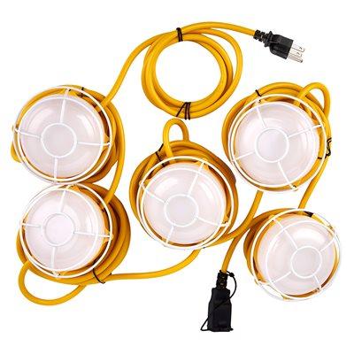 5-LED String Worklights 40W 5000k 5000lm 15m Cord