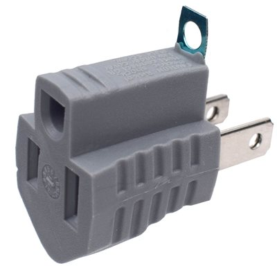 Grounded Adapter 1-Outlet 2 to 3 Prong Grey