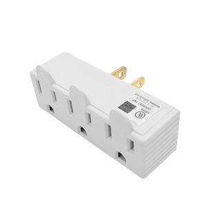 Grounded Wall Adapter 3-Outlet Single to Triple White