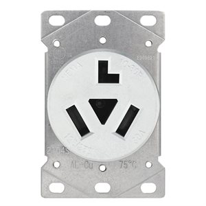 Dryer Receptacle 3 Pole 3 Wire White