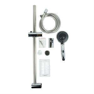 Hand Shower ABS Chrome 5 Spray Patterns 1.5m Flexible Hose w / Wall Mount Sliding Bar