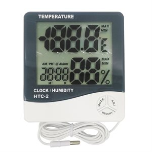 Digital Thermometer-Hygrometer Large Display Indoor / Outdoor 2 Probe