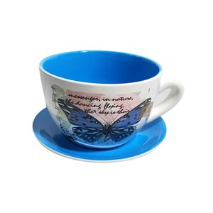 Tea Cup Planter & Saucer Large Butterfly Blue 10in