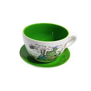 Tea Cup Planter & Saucer Cactus Garden Green 7.5in