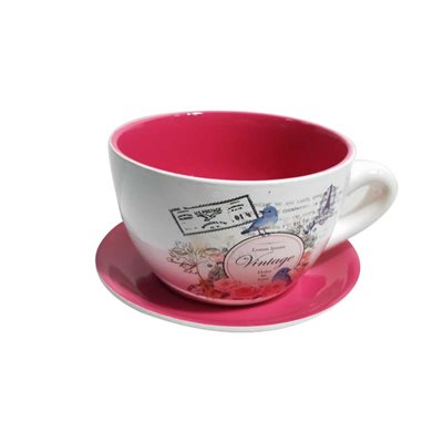 Tea Cup Planter & Saucer Vintage Red 10in