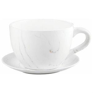Tea Cup Planter & Saucer Carrara 7.5in (19cm)