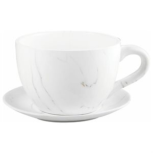 Tea Cup Planter & Saucer Carrara 10in (25.4cm)