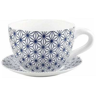 Tea Cup Planter & Saucer Blue Stars 10in (25.4cm)