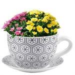Tea Cup Planter & Saucer Black Hexagons 7.5in (19cm)
