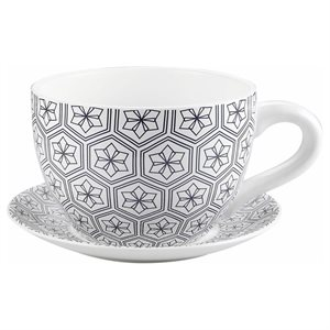 Tea Cup Planter & Saucer Black Hexagons 9in (23cm)