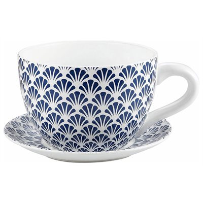 Tea Cup Planter & Saucer Blue Seashells 9in (23cm)