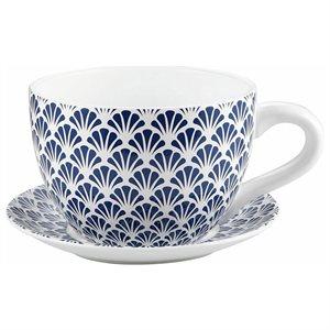 Tea Cup Planter & Saucer Blue Seashells 10in (25.4cm)