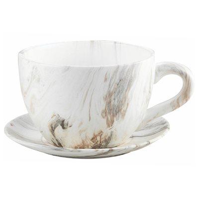 Tea Cup Planter & Saucer Calacatta 7.5in (19cm)