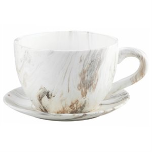 Tea Cup Planter & Saucer Calacatta 9in (23cm)