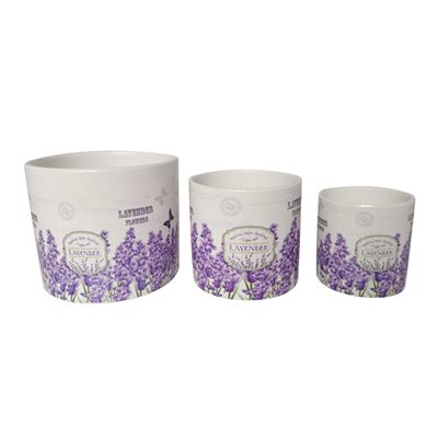 3PC Cylindrical Flower Pots Lavender Flowers Set 3.7, 5.1, 6.5in (9.5, 13, 16.5cm)