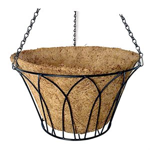 12in Wire Arch Hanging Black Basket With Coco Liner