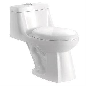 Toilet Dual Flush Elongated-Front 4.8L / 6L 1-Piece White