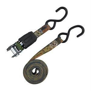 4PC Camo Ratchet Tie Down 1in x 15ft BS-1500lb WLL-500lb